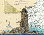 New England Lighthouse Paintings - Whaleback Ledge Lighthouse ME Nautical Chart Map Art by Cathy Peek