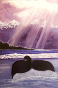 Sun Rays Pastels Originals - Whales Tail by Dana Kern