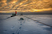 Winter Train Images Prints - Wharf Print by Jakub Sisak