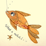 Fish Tapestries - Textiles Posters - What a catch Poster by Hazel Millington