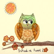 Sun Tapestries - Textiles Prints - What a hoot Print by Hazel Millington