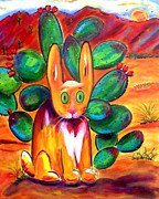 Greeting  Cards. Arizona Paintings - What Coyote by Andrea Folts