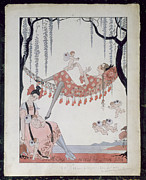 Dresses Framed Prints - What Do Young Women Dream Of? Framed Print by Georges Barbier