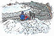 Snow Drifts Prints - What Fascinates Children and Dogs -  Snow Day - Winter Print by Barbara Griffin