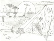 Aliens Drawings - What IF by Daryl Schooley