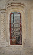 Stonewall Painting Metal Prints - What is Behind the Window Pane Metal Print by Mary Ellen  Mueller-Legault