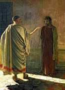 Pontius Pilate Paintings - What is Truth    Christ and Pilate by Nikolai Nikolaevich Ge