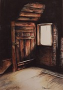 Cabin Corner Framed Prints - What Lurks Framed Print by Laura Rainer