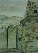 Surrealism Landscape Drawings Prints - What remains Print by Nicla Rossini
