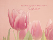 Pink Tulip Flower Prints - What You See Print by Kim Hojnacki
