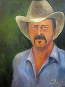 Cow Boy Paintings - Whatcha Doing Tonight? by Sandra Cutrer