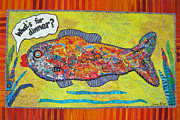 Fish Art Tapestries - Textiles Prints - Whats For Dinner Print by Susan Rienzo
