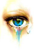 Pain Drawings - Whats in a Tear? by Andrea Carroll