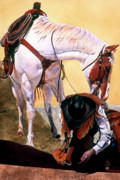 White Horse Paintings - Whats In That Pocket? by JK Dooley