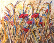 Poppies Field Paintings - Wheat and Poppies by Esther Newman-Cohen