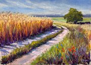 Country Pastels Metal Prints - Wheat Field Road Metal Print by Susan Jenkins