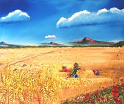 Thunder Paintings - Wheat Harvest and Poppies by Meyer Van Rensburg