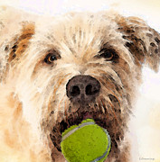 Tennis Digital Art Framed Prints - Wheaten Terrier - Lets Play Framed Print by Sharon Cummings