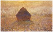 Wheatstack Sun In The Mist Print by Claude Monet
