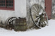 Farm Building Prints - Wheel Barrel Print by Don Schroder