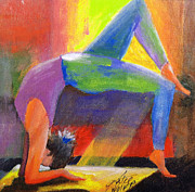 Yoga Pose Paintings - Wheel Pose by Katie Wolff