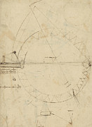 Pencil Sketch Framed Prints - Wheel sketch of drawing in folio 956 Framed Print by Leonardo Da Vinci