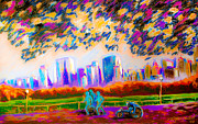 Cities Pastels Posters - Wheelchair Athlete and Runners in Central Park of New York City  Poster by Dariusz Janczewski