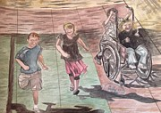 Handicapped Paintings - Wheelchair race by Asuncion Purnell