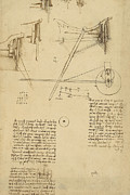 Engineering Drawings Framed Prints - Wheels and pins system conceived for making smooth motion of carts from Atlantic Codex Framed Print by Leonardo Da Vinci