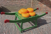 Wooden Platform Metal Prints - Wheels of Dutch Gouda Cheese Metal Print by Artur Bogacki