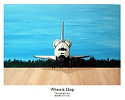 Space Ships Painting Framed Prints - Wheels Stop Framed Print by Jeff Montgomery