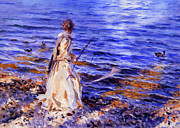 Blonde Mixed Media - When A Woman Goes Fishing by Zeana Romanovna