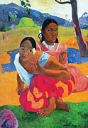 Bright Color Framed Prints - When Are You Getting Married Framed Print by Paul Gauguin