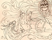 Horus Drawings Metal Prints - When Demons and Dragons Clash Sketch Metal Print by Coriander  Shea