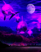 Panoramic Digital Art - When Dolphins Cry by Wingsdomain Art and Photography