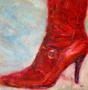 High Heeled Painting Framed Prints - When in Doubt Wear Red - Boot - Fun Original Painting Framed Print by Quin Sweetman