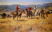 Lawmen Prints - When Law dulls The Edge of Chance Print by Charles M Russell