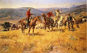 Wild Horses Framed Prints - When Law Dulls the Edge of Chance Framed Print by Charles Russell