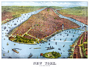 Business-travel Digital Art Prints - When New York Was Flat Print by Nomad Art And  Design