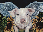 Sunflower Paintings - When Pigs Fly by Lorraine Davis Martin