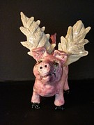 One Ceramics - When Pigs Fly Sculpture Wire eyelashes by Debbie Limoli