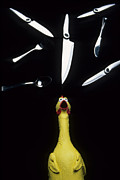 Rubber Prints - When Rubber Chickens Juggle Print by Bob Christopher