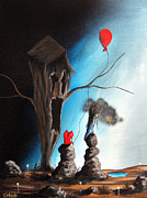 Surreal Landscape Painting Metal Prints - When Shes Mad by Shawna Erback Metal Print by Shawna Erback