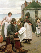 Reading The Paper Prints - When The Boats Are Away Print by Walter Langley