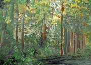 Enchanted Forest Paintings - When the Light Breaks Through by Eloise Schneider