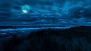 Sea Moon Full Moon Photo Prints - When the moon is blue Print by Bill  Wakeley