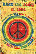 Wood Painting Prints - When the Power of Love Print by Debbie DeWitt