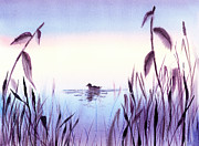 Meditation Paintings - When The Sky Melts With Water A Peaceful Pond by Irina Sztukowski