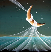 Moon Painting Posters - When The Wind Blows Poster by Cindy Thornton