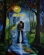 Couple Hugging Paintings - When We Fell In Love by Leslie Allen